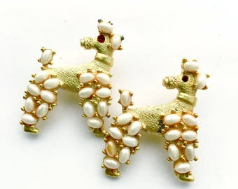 Set of 2 Poodle Brooches Fun Figural Fashion Jewelry Canine Dog Pins