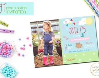 Pig invitation, Piggy invite, Piggy Birthday, Pig Birthday invitation, Peppa Pig inspired Printable, Photo Option of Piggy Invitation