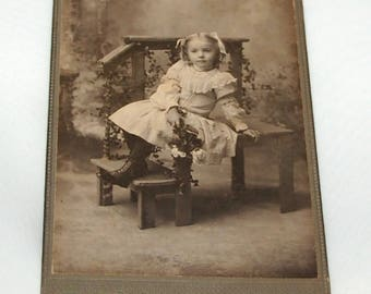 Vintage 1870-1900 Little Girl Cabinet Card Photograph by Thibault's Portrait Gallery