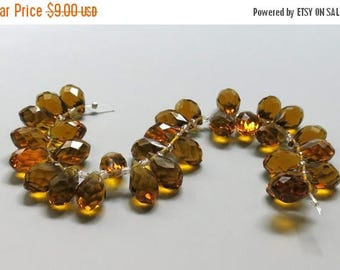 HALF OFF SALE 30 Faceted Glass Briolette Teardrop Beads, 12 x 8mm Amber/Sienna Brown, Czech Glass, Loose Beads