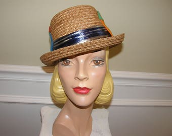 Rare 50s Kitsch Hat Vintage Dobbs Milan Italian Straw Porkpie Hat with Felt Appliques Fun Resort, Cruise, Vacation or BBQ Wear Mens 7