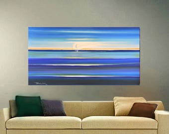ORIGINAL PAINTING Abstract Seascape Large 24X48 Gallery Wrap Canvas Modern Art  By Thomas John