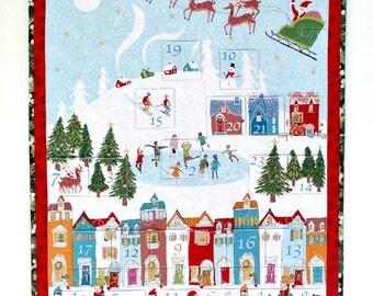 Advent Calendar, Quilted Wall Hanging, Christmas Wall Quilt, Wonderland Winter Village, Heirloom Quilt, Children's Activity Calendar