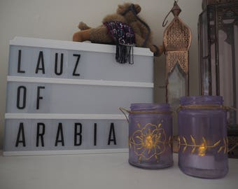 Kuta - Purple with gold peony and henna hand decorated mason jar