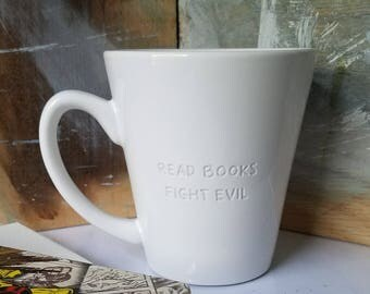 Read Books Fight Evil Engraved Mug, Unique Mug, Funny Mug, Book Lover Mug, Comic Book Mug, Minimalist Mug, Quote Mug