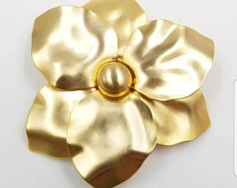 Brushed Gold Satin Finish Flower Pin, Vintage Metal Flower Pin, Warm Fall Color Flower