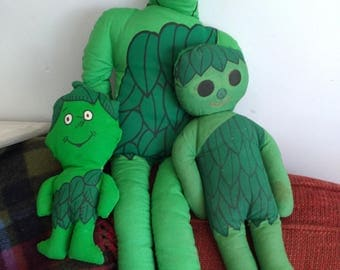Three Vintage Jolly Green Giant Giveaway Mail Order Dolls Large Medium and Lil Sprout Early 1970