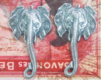 TWO Brass elephant charms, Brass Stampings Made in the USA, jewelry making and crafting