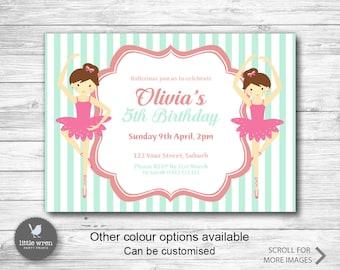 Ballerina party invitation, Ballet invite, Ballerina party, Girls party invitation, 5th birthday invite, Girls Birthday Party Invitation