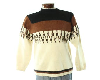 Vintage 70's Wool Sweater Nordic Hand Knit Pullover 1970s Large L NESNA Hipster Ski Winter Ivory Brown