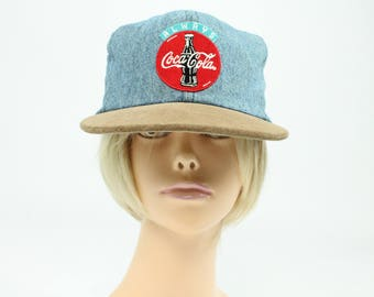 1980s Coca Cola Hat Denim Suede Snap Back Ball Cap Vintage 80s Made in USA