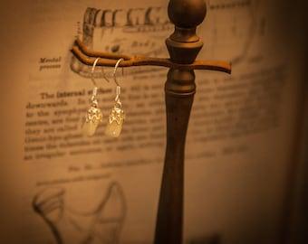 Human Teeth Silver Dangle Earrings