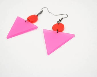 Triangle earrings, geometric earrings, pink and red earrings, retro earrings, red and pink dangle earrings, acrylic laser cut earrings