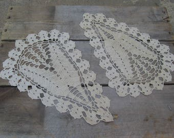 Ecru Feather Doilies, Set of TWO, Taupe Beige Vanity Scarfs, Crochet Doilies, Table Linens