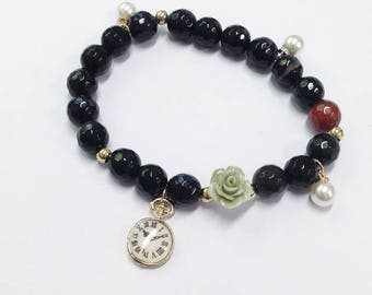Black and blue beaded elastic bracelet with rose and timepiece charm Handmade beaded armcandy bracelet pearls
