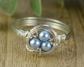 Blue Peals Birds Nest Ring- Sterling Silver, Yellow or Rose Gold Filled Wire/Swarovski Crystal Pearls- Any Size 4 5 6 7 8 9 10 11 12 13 14
