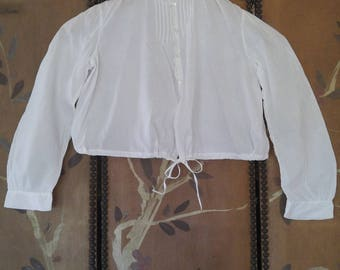 1920s white cotton childs blouse