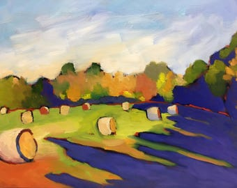 Hay Field Light and Shadows Plein Air Landscape Oil Painting