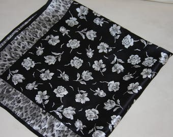Silk Scarf - Black White Grey Floral & Animal Print - 21 x 21""