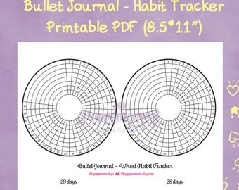 Bullet Journaling Wheel Habit Tracker Printable Sticker | Track your monthly habits