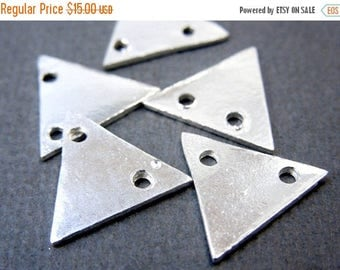 10% off July 4th SALE Triangle Stamping Blank Sterling SILVER 11mm Triangle Connector Charm Pendant-- 10 CHARMS (S67B7-01)