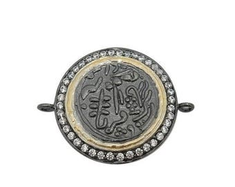 15% off Xmas in July Stamped Coin Double Bail Pendant with Intricate Designs - Round Black Toned Brass with CZ Pave Charm Pendant  BIC  (S68
