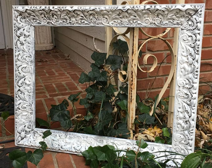 VINTAGE FRAME - Shabby Chic Painted in White - Large 24 x almost 30!  Wide Ornate Wood -  Holds 18 X 24