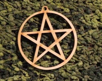 YULE 1 or pack of  13  Pentacle Ornaments - Laser cut pentacle design