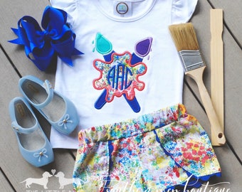 Paint by Number M2M shirt - M2M little dog shorts - Custom Monogrammed Shirt