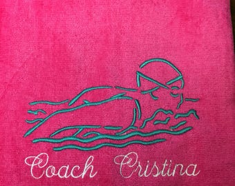 Swim towel, swim team, Personalized, beach towel, pool towel, monogrammed towels, swimmer gift, water polo,