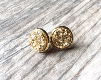 Sparkling Gold Druzy Earrings - Resin Druzy Earrings - Gemstone Earrings - Druzy Stud Earrings - Druzy Jewelry