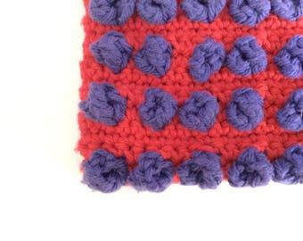 Red and purple polkadots crochet potholder, red and purple handmade crochet trivet, Ready to ship