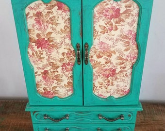 Large Hand Painted Elegant Teal Jewelry Box/Music box