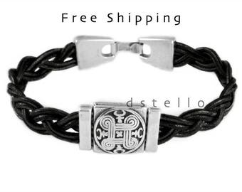 Celtic leather bracelet, Celtic shield bracelet, Womens jewelry, Mens cuff, Unisex bracelets, Birthday, anniversary gift