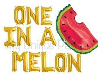 "ONE IS A MELON Letter Balloons Air Fill only / Large 35"" Watermelon Balloon Helium Quality / One in a Melon Banner Tutti Fruity / Luau Party"