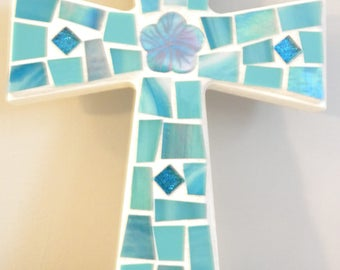 Turquoise/Aqua MOSAIC CROSS - Stained Glass Art Piece
