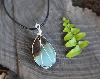 Chrysoprase  Necklace, Tumbled Chrysoprase, Wire Wrapped Necklace, Natural Stone Necklace, Chrysoprase Jewelry, Spring Gemstone Jewelry