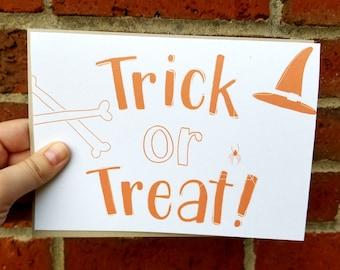 Trick or Treat Halloween Greeting Card with Matching Kraft Brown Envelope