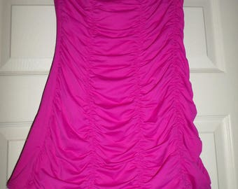 90's DKNY Swimsuit Donna Karen New York Hot Pink Swimwear Size 10 One Piece Scrunched High Cut