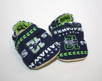 Seattle seahawk baby shoes sports baby shoes seahawk moccs baby booties baby slippers 12th man seahawk baby shoes vegan baby shoes  moccs
