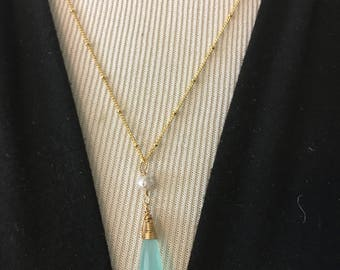 Blue Chalcedony Pendant and Freshwater Pearl Necklace