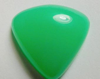 Chrysoprase designer cab glowing green High dome Triangular wedge World class AAA color ,eye clean  maraborough 19.26 ct.