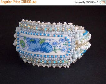 Summer sale Free Shipping, Bead Embroidery, Bracelet, Statement cuff, Seed bead bracelet, Blue, white, Swarovski, porcelain