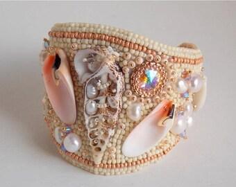 Summer sale Bracelet, Cuff,  Bead Embroidery, Trending jewelry,Free Shipping, Seed bead bracelet, Sea shell, Freshwater pearls, Summer brace