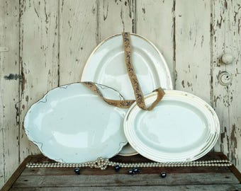 Antique White Plate Set of 3 Mismatched Platters - All White China, Wedding Dishes, Party Serving Ware, Retro White Wall + Home Art Decor