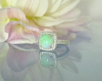 Genuine Opal Engagement Ring, Genuine Opal Ring, Opal Ring, Opal Engagement Ring, Engagement Ring Opal, Unique Opal Ring, Opal Halo Ring
