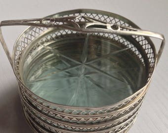 Vintage Sterling Silver and Glass Coaster Set