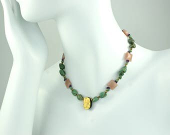"""Hand-Gilded Gold and Green Turquoise Necklace, 23-Karat Gold Leaf On Tektite, Rose Gold Moonstone, Amethyst, Czech Glass, Toggle, 17.5"""""""