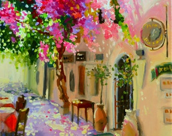 Original Oil Painting, GRIEKELAND, pink and purple, Greek side street, oil on canvas, art, GREECE