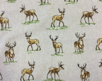Red Deer Stag print on linen effect cotton by the metre